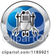 Clipart Of A Round Blue And Silver Rover Robot Icon Royalty Free Vector Illustration by Lal Perera