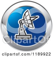 Round Blue And Silver Satellite Dish Icon