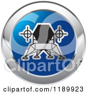 Clipart Of A Round Blue And Silver Robotic Spacecraft Icon Royalty Free Vector Illustration