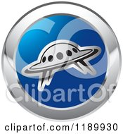 Clipart Of A Round Blue And Silver UFO Icon Royalty Free Vector Illustration by Lal Perera