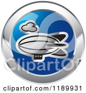 Clipart Of A Round Blue And Silver Air Ship Icon Royalty Free Vector Illustration