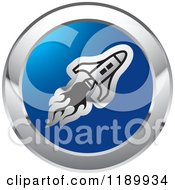 Clipart Of A Round Silver And Blue Rocket Shuttle Icon Royalty Free Vector Illustration