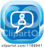 Clipart Of A Blue Contact Chat Balloon Icon Royalty Free Vector Illustration