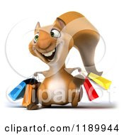 Clipart Of A 3d Happy Squirrel With Shopping Bags Royalty Free CGI Illustration