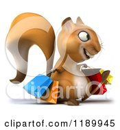 Clipart Of A 3d Happy Squirrel With Shopping Bags 2 Royalty Free CGI Illustration