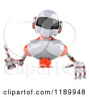 Clipart Of A 3d White And Orange Techno Robot Holding A Thumb Up Over A Sign Royalty Free CGI Illustration