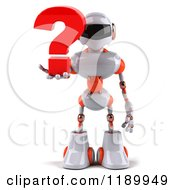 Clipart Of A 3d White And Orange Techno Robot Holding A Question Mark Royalty Free CGI Illustration