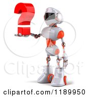 Clipart Of A 3d White And Orange Techno Robot Holding A Question Mark 2 Royalty Free CGI Illustration