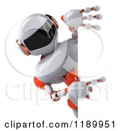 Clipart Of A 3d White And Orange Techno Robot Pointing To A Sign Royalty Free CGI Illustration