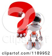 Clipart Of A 3d White And Orange Techno Robot Holding A Question Mark 3 Royalty Free CGI Illustration