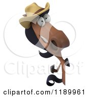 Clipart Of A 3d Happy Horse Wearing A Cowboy Hat And Looking Around A Sign Royalty Free CGI Illustration
