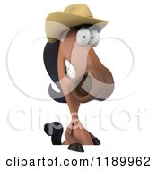 Clipart Of A 3d Happy Horse Wearing A Cowboy Hat Over A Sign Royalty Free CGI Illustration
