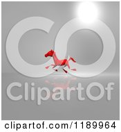 Clipart Of A 3d Red Running Origami Horse On Gray Version 2 Royalty Free CGI Illustration