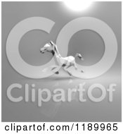 Clipart Of A 3d White Running Origami Horse On Gray 2 Version 3 Royalty Free CGI Illustration
