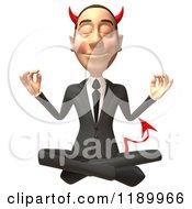 Clipart Of A 3d Devil Con Artist Business Man Meditating Royalty Free CGI Illustration