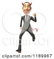 Clipart Of A 3d Devil Con Artist Business Man Running Royalty Free CGI Illustration