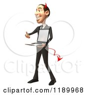 Clipart Of A 3d Devil Con Artist Business Man Presenting A Laptop 2 Royalty Free CGI Illustration