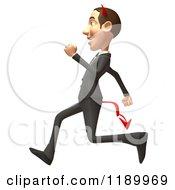 Clipart Of A 3d Devil Con Artist Business Man Running 2 Royalty Free CGI Illustration