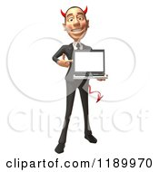 Clipart Of A 3d Devil Con Artist Business Man Presenting A Laptop Royalty Free CGI Illustration