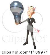 Clipart Of A 3d Devil Con Artist Business Man Holding A Lightbulb Royalty Free CGI Illustration