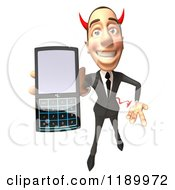 Clipart Of A 3d Devil Con Artist Business Man Holding Out A Cell Phone Royalty Free CGI Illustration