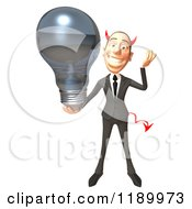 Clipart Of A 3d Devil Con Artist Business Man Holding A Lightbulb 2 Royalty Free CGI Illustration