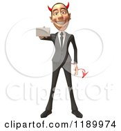 Clipart Of A 3d Devil Con Artist Business Man Holding Out A Business Card 2 Royalty Free CGI Illustration