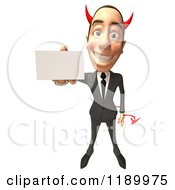Clipart Of A 3d Devil Con Artist Business Man Holding Out A Business Card Royalty Free CGI Illustration