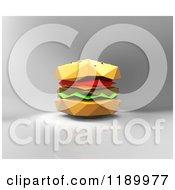 Clipart Of A 3d Origami Hamburger On Gray Royalty Free CGI Illustration