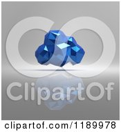 Clipart Of A Blue Origami Cloud On Gray Royalty Free CGI Illustration