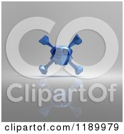 Clipart Of A 3d Blue Origami Skull On Gray Royalty Free CGI Illustration