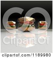 Clipart Of 3d Origami Hamburgers Royalty Free CGI Illustration