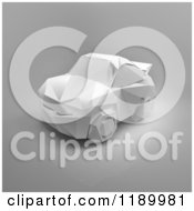 Clipart Of A White Origami Car On Gray 2 Royalty Free CGI Illustration