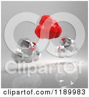 Clipart Of Red And Silver Origami Clouds On Gray Royalty Free CGI Illustration