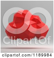 Clipart Of A Red Origami Cloud On Gray Royalty Free CGI Illustration