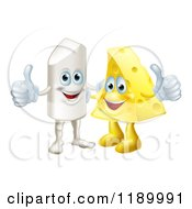 Cartoon Of A Happy Chalk And Cheese Holding Thumbs Up Royalty Free Vector Clipart by AtStockIllustration