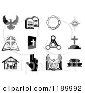 Cartoon Of Black And White Christian Icons 3 Royalty Free Vector Clipart by AtStockIllustration