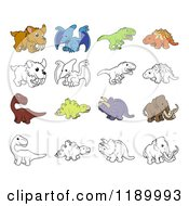 Cartoon Of Dinosaurs And Prehistoric Animals In Color And Black And White Royalty Free Vector Clipart