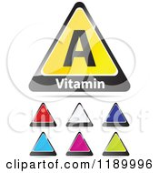 Clipart Of Vitamin A And Colorful Triangle Icons Royalty Free Vector Illustration