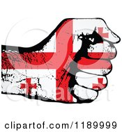 Clipart Of A Fisted Georgian Flag Hand Royalty Free Vector Illustration