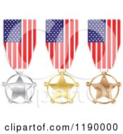 Clipart Of Silver Gold And Bronze American Star Medals And Flag Ribbons Royalty Free Vector Illustration