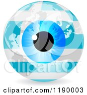 Clipart Of A Blue Eyeball And Greek Flag Earth Royalty Free Vector Illustration