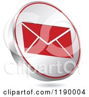 Clipart Of A Floating Round Silver And Red Envelope Icon Royalty Free Vector Illustration