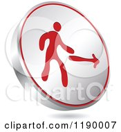Clipart Of A Floating Round Silver And Red Exit Icon Royalty Free Vector Illustration by Andrei Marincas