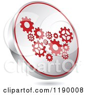 Clipart Of A Floating Round Silver And Red Gear Icon Royalty Free Vector Illustration