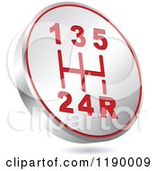 Clipart Of A Floating Round Silver And Red Gear Shift Icon Royalty Free Vector Illustration by Andrei Marincas