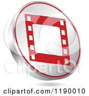 Clipart Of A Floating Round Silver And Red Film Strip Icon Royalty Free Vector Illustration by Andrei Marincas