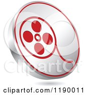Clipart Of A Floating Round Silver And Red Film Reel Icon Royalty Free Vector Illustration