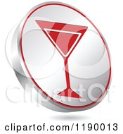 Clipart Of A Floating Round Silver And Red Martini Glass Icon Royalty Free Vector Illustration by Andrei Marincas