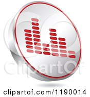 Clipart Of A Floating Round Silver And Red Equalizer Icon Royalty Free Vector Illustration by Andrei Marincas